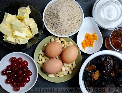 Ingredients for the Dundee Cake